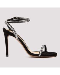 Alexandre Vauthier Black Crystal-embellished Strap Sandals