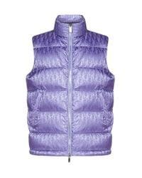 Dior Purple All-over Dior Oblique Jacquard Motif Sleeveless Down Jacket for men