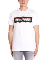 DSquared² White Logo Print Crewneck T-shirt for men