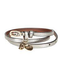 Alexander McQueen - Metallic Skull Charm Wrap Bracelet - Lyst