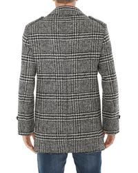 Tonello Black Houndstooth Effect Double Breasted Coat for men