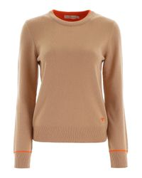 Tory Burch Natural Logo Embroidered Crewneck Sweater