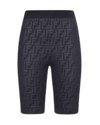 Fendi Black Ff Motif Biker Shorts