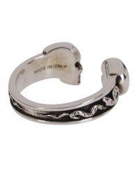 Alexander McQueen Metallic Twin Skull Ring for men