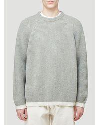 Maison Margiela Gray Contrast Hem Rib-knit Jumper for men