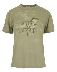 Saint Laurent Green Lightning Logo T-shirt for men