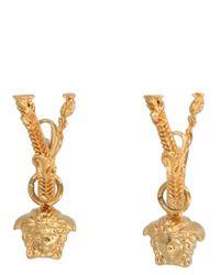 Versace Metallic Virtus Drop Earrings
