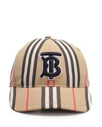 Burberry Natural Icon Stripe Logo-embroidered Cotton Baseball Cap