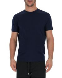 Prada Blue Crewneck Fitted T-shirt for men