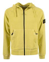 Stone Island Yellow Logo Patch Zipped Hoodie for men