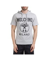 Moschino Gray Hooded T-shirt for men