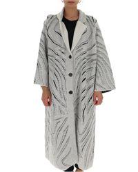 3.1 Phillip Lim Gray Zebra Fringe Cutout Melton Long Coat