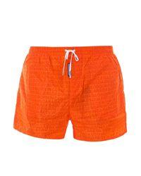 DSquared² Orange Logo Print Swim Trunks for men