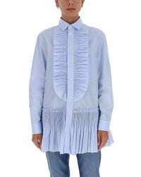 RED Valentino Blue Ruffled Front Shirt