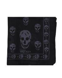 Alexander McQueen Black Skull Printed Scarf