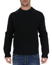 Maison Margiela Black Ribbed Crew-neck Sweater for men