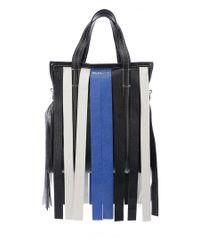 Balenciaga - Blue Striped Bazar Fringe Tote - Lyst