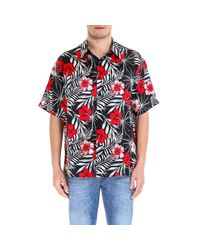 Laneus Red Printed Button-up Shirt for men