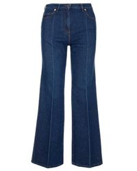 Valentino Blue Vlogo Embroidered Wide-leg Jeans