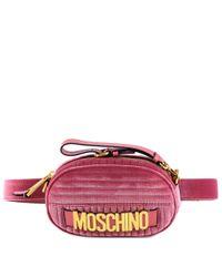 Moschino Pink Velvet Logo Belt Bag