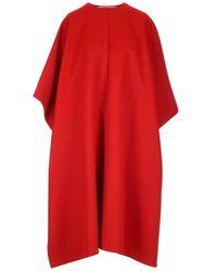 Valentino Red Oversized Side Slit Midi Cape