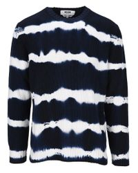 MSGM Blue Tie-dye Sweater for men