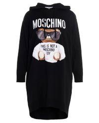 Moschino Black Teddy Hoodie Dress