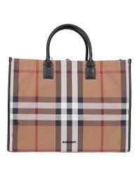 Burberry Brown Check Print Top Handle Tote Bag for men