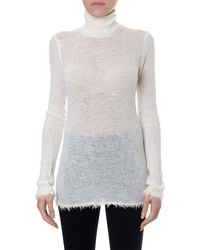 Céline White Long Sleeve Turtleneck Pullover