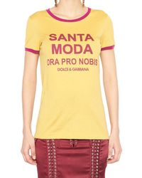 Dolce & Gabbana - Yellow Santa Moda Print Cotton T Shirt - Lyst