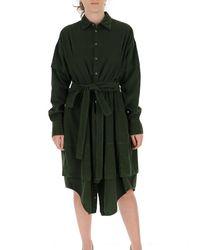 DSquared² Green Wrap Waist Panelled Shirt Dress