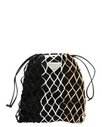 Prada Black Logo Plaque Net Crossbody Bag