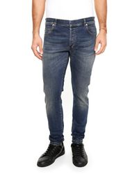 Balmain - Blue Washed Jeans for Men - Lyst