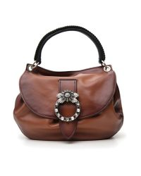Miu Miu - Brown Madras Miu Lady Tote Bag - Lyst