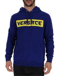 Versace Blue Logo Printed Hoodie for men