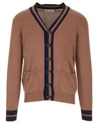 Brunello Cucinelli Brown Stripe Trim Cardigan for men