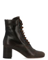 Miu Miu Brown Leather Ankle Boots