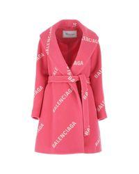 Balenciaga Pink Printed Wool Blend Coat Nd