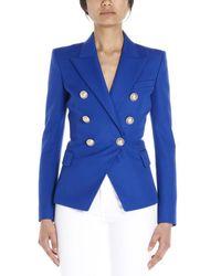 Balmain Blue Double Breasted Blazer