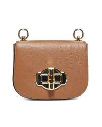 Prada Brown Lock Detail Shoulder Bag