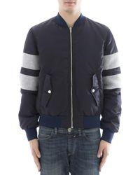 MSGM Blue Zipped Striped Jacket for men