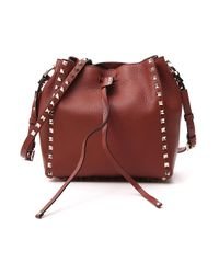Valentino Garavani Red Garavani Rockstud Small Bucket Bag