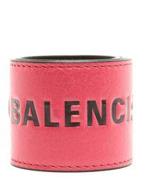 Balenciaga Pink Branded Cuff Bracelet