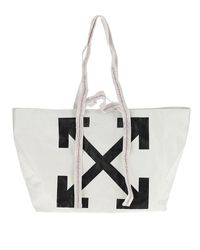 Off-White c/o Virgil Abloh White Diagonal Arrows Logo Print Tote