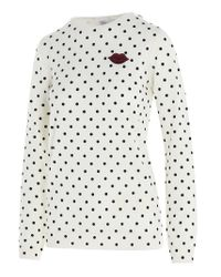 RED Valentino White Redvalentino Polka Dot Crewneck Sweater