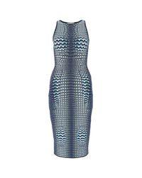 MARINE SERRE Blue Embroidered Viscose Blend Dress Donna