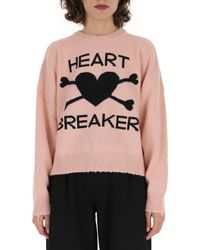 RED Valentino Pink Logo Knitted Jumper