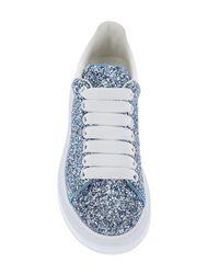 Alexander McQueen Blue Oversized Glitter Sneakers