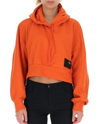 Y-3 Orange Logo-patch Cropped Hoodie