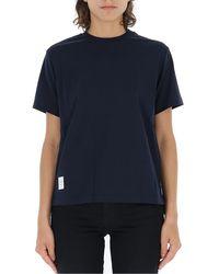 Thom Browne Blue Logo Patch Crewneck T-shirt